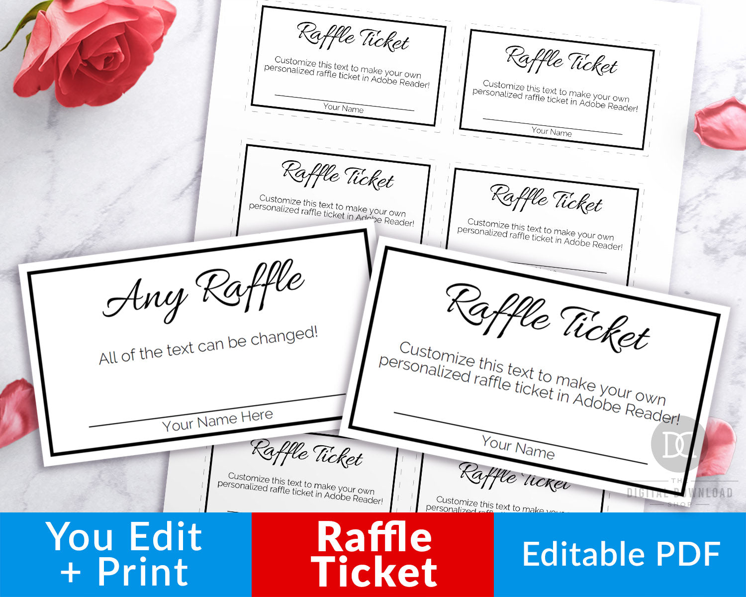 Raffle Ticket Template Editable Printable Black And White The Digital Download Shop
