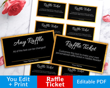 Raffle Ticket Template Editable Printable- Gold and Black