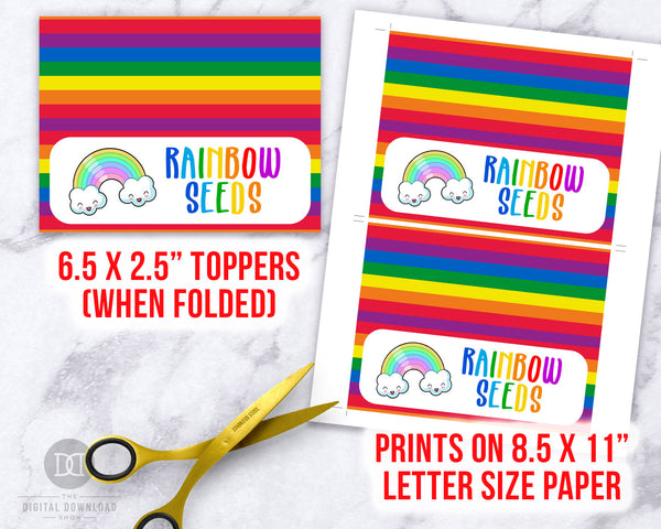 Rainbow Seeds Treat Bag Topper Printable- These cute printable DIY bag toppers are the perfect finishing touch to your party treat bags! | Saint Patrick's Day party favors, St. Patrick's Day party ideas, rainbow birthday part favors, unicorn birthday, St. Paddy's, #StPatricksDay #birthdayFavors #DigitalDownloadShop