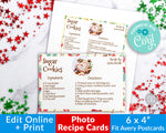 Photo Christmas Recipe Card Printable