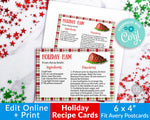 Holiday Recipe Card Printable Template