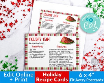 Holiday Recipe Card Printable Template *EDIT ONLINE*