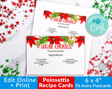 Christmas Recipe Card Printable Template *EDIT ONLINE*