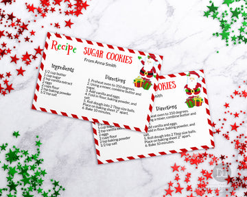 Santa Christmas Recipe Card Template Printable *EDIT ONLINE*