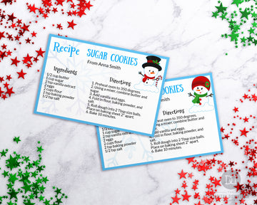 Snowman Winter Recipe Card Editable Printable *EDIT ONLINE*