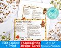Thanksgiving Recipe Card Printable Editable *EDIT ONLINE*