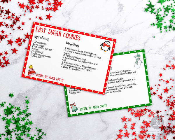 Christmas Cookie Recipe Card Template Printable