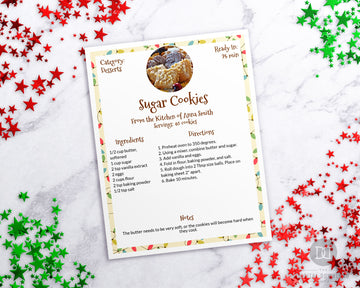 Christmas Recipe Sheet Template Printable *EDIT ONLINE*