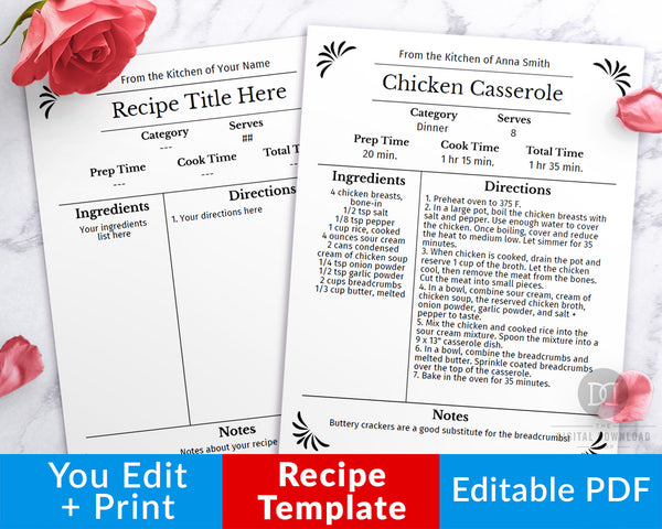 Recipe template editable printable with an elegant black and white theme! This editable recipe binder page is the perfect way to get your family's favorite recipes organized, or can be given as a thoughtful wedding gift!