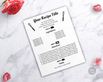 Recipe Template Printable- Cooking Utensils