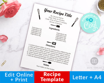 Recipe Template Printable- Cooking Utensils *EDIT ONLINE*