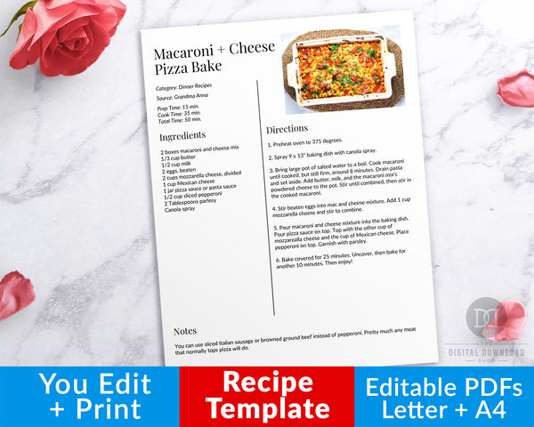 Recipe Template with Photo Editable Printable- Photo Right