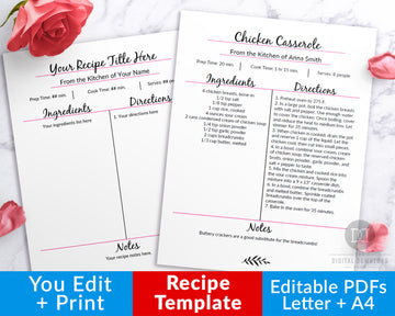 Editable Cookbook Template- Recipe Template Pink + Black