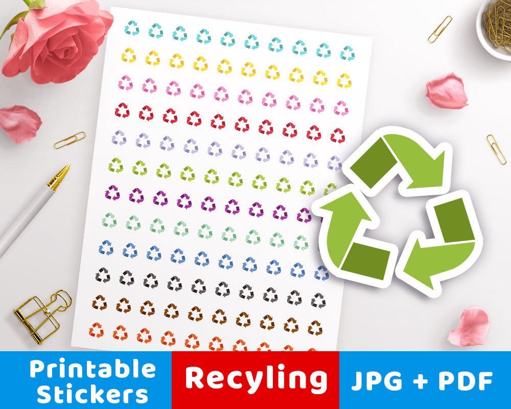 Recycling Symbol Printable Planner Stickers The Digital Download Shop