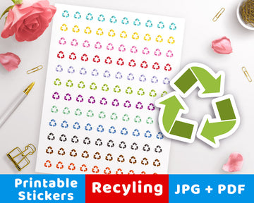 Recycling Symbol Printable Planner Stickers