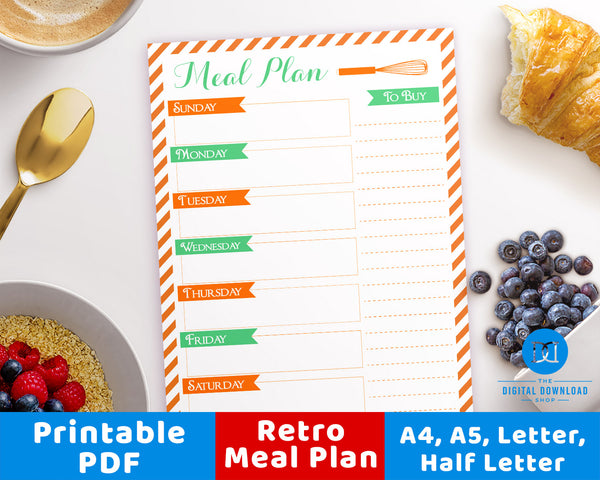 Retro Weekly Meal Planner Printable