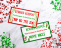 Christmas Reward Coupon Template- Watercolor *EDIT ONLINE*