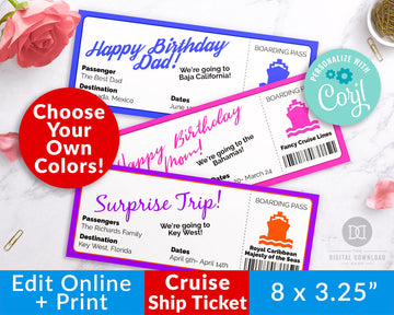 Cruise Ship Ticket Template Printable *EDIT ONLINE*