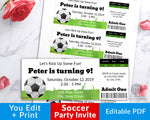 Editable and printable soccer party invitation tickets. These DIY soccer birthday invites are a fun (and easy) way to create the perfect invitations for your soccer themed party!