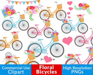 This rustic bike graphics set includes beautiful colorful bikes, including bikes with flowers in their baskets and bikes with flowers on their back wheels, plus bouquets and hearts!