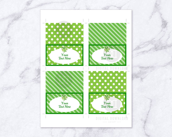 St. Patrick's Day Food Tents Printable