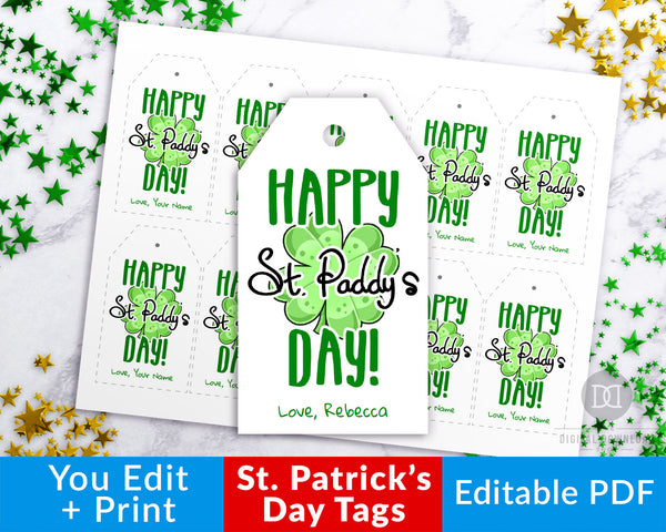 St. Patrick's Day Tag Printable- These editable favor tags are the perfect finishing touch to your St. Patrick's Day party favors! | St. Patty's Day, Saint Patrick's Day party ideas, gift tags, #StPatricksDay #SaintPatricksDay #DigitalDownloadShop