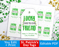 "St. Patrick's Day Tag Printable: ""Lucky to Have You as My Friend""- These editable favor tags are the perfect finishing touch to your St. Patrick's Day party favors! 