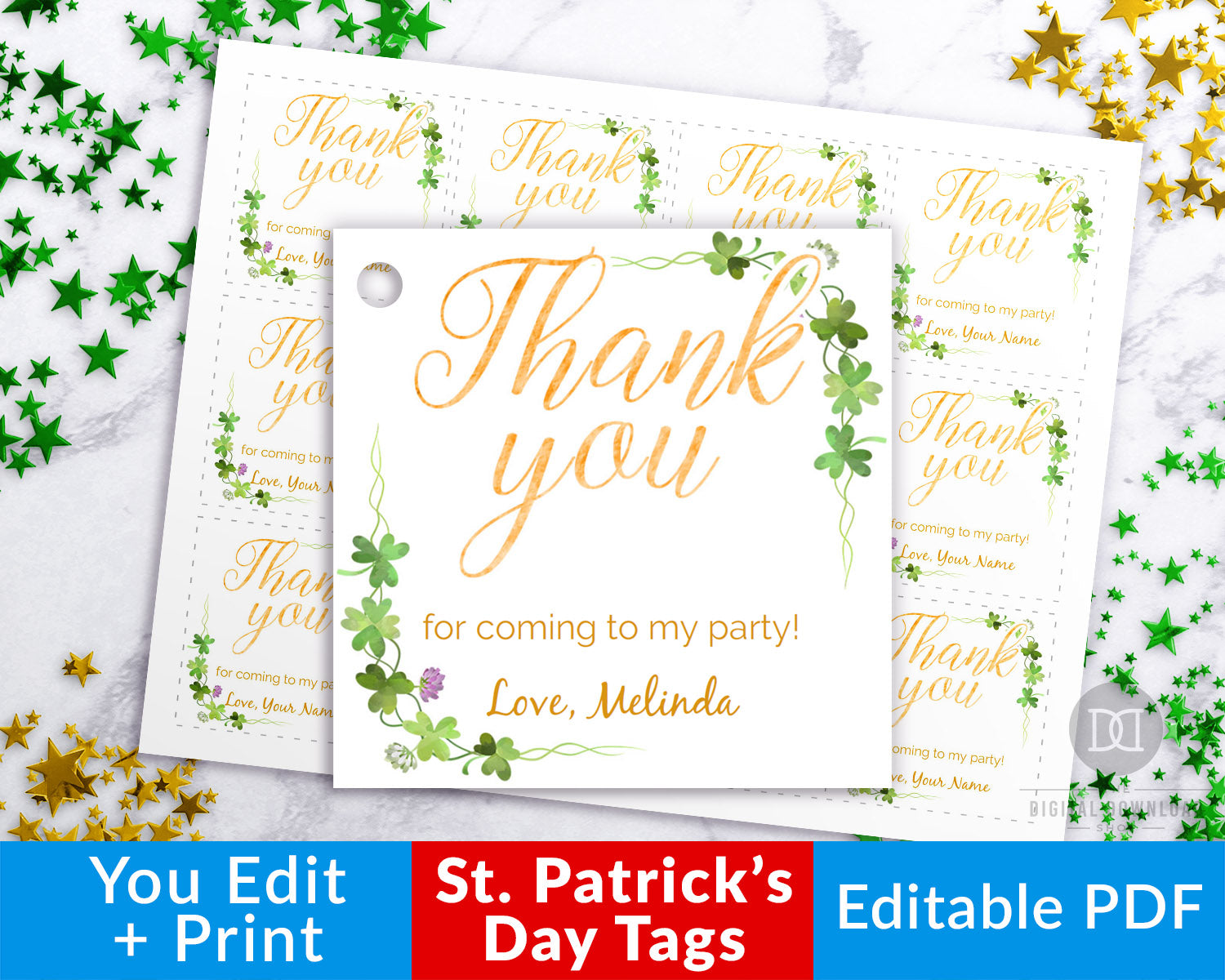 image regarding Thank You Tag Printable named St. Patricks Working day Thank By yourself Tag Printable