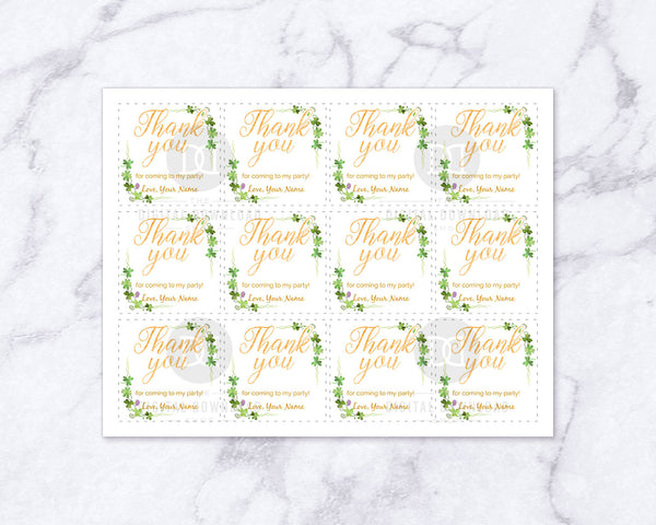 St. Patrick's Day Thank You Tag Printable- These editable favor tags are the perfect finishing touch to your St. Patrick's Day party favors! | St. Paddy's Day party ideas, St. Patty's Day, Saint Patrick's Day, gift tags, #StPatricksDay #partyFavors #DigitalDownloadShop