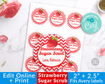 Strawberry Sugar Scrub Labels Printable Editable
