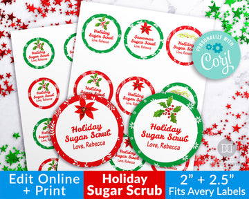 Christmas Sugar Scrub Labels Template- Watercolor Floral *EDIT ONLINE*