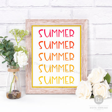 Summer Typography Ombre Printable Wall Art