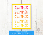 Bright and colorful summer typography wall art printable with a pink to yellow ombre gradient.