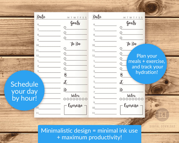Traveler's Notebook Daily Planner Printable- This TN day planner is exactly what you need to plan your daily schedule and have your best day ever! | TN inserts, TN midori, TN standard size, TN regular, #travelersNotebook #planner #DigitalDownloadShop
