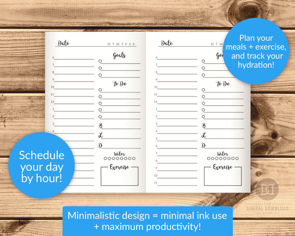 TN Pocket/Field Notes Daily Planner Printable- The Digital Download Shop
