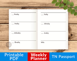 TN Passport Weekly Planner Printable- The Digital Download Shop