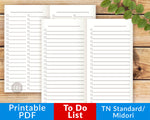 TN Standard/Regular/Midori To Do Lists Printables- The Digital Download Shop