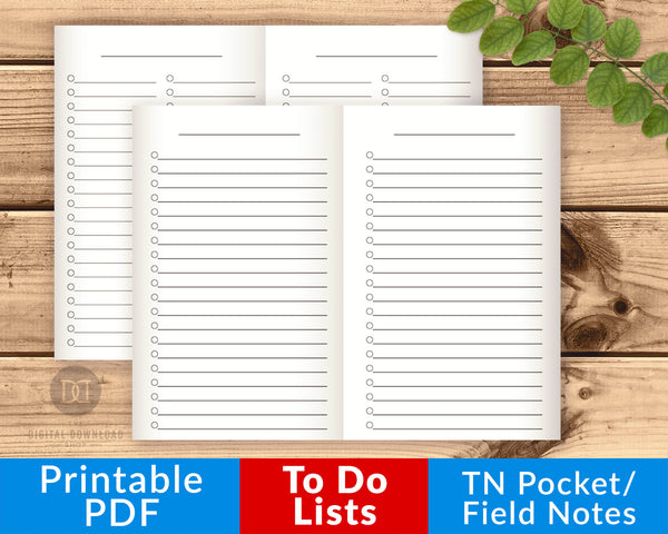 TN Pocket/Field Notes To Do Lists Printable- The Digital Download Shop