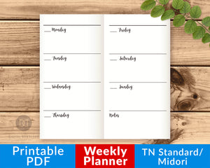 TN Standard/Regular/Midori Weekly Planner Printable- The Digital Download Shop