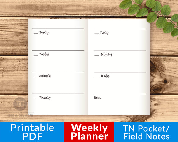 TN Pocket/Field Notes Weekly Inserts Printable- The Digital Download Shop