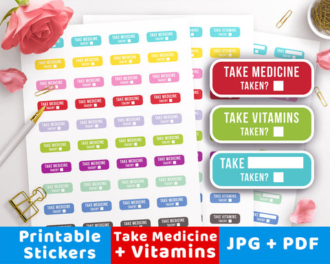 Take Medicine / Vitamins Reminder Stickers