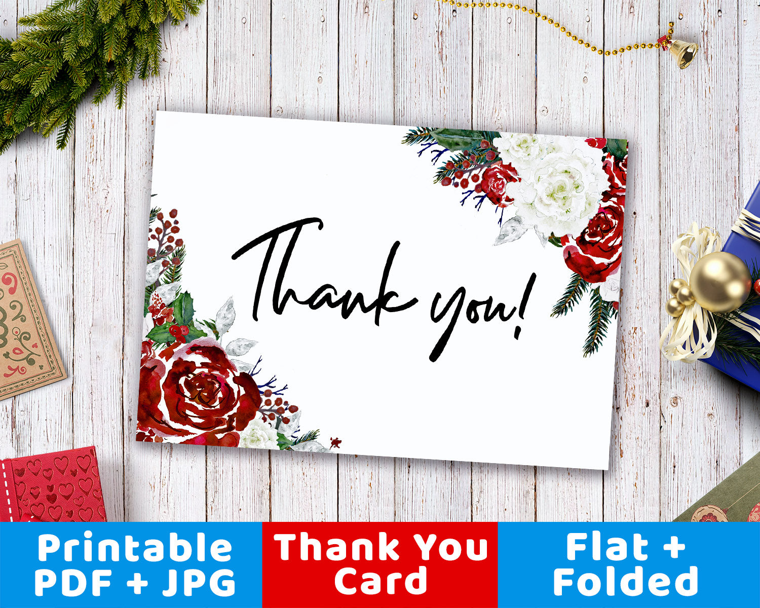 Printable Thank You Card- Holiday Florals