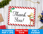 Printable Thank You Card- Christmas Reindeer