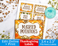 Thanksgiving Labels Template Printable- Large *EDIT ONLINE*
