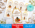 Thanksgiving Tags Printable- Turkeys *EDIT ONLINE*