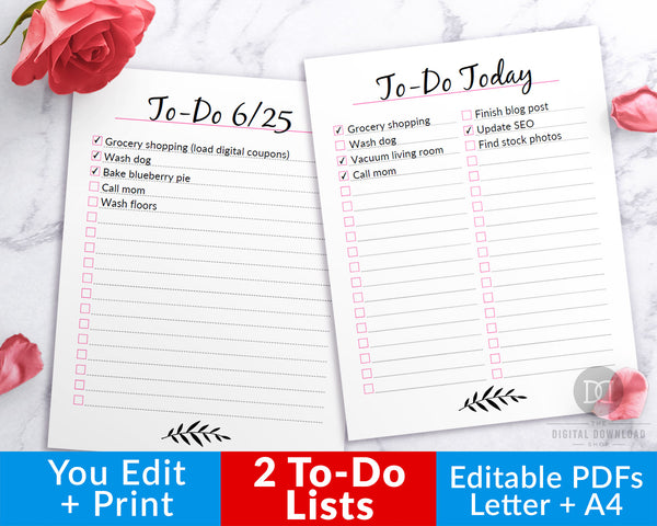2 to-do list editable printables, one with two lists on a page and one with a single list! These editable to-do checklists are the easiest way to make and manage your daily tasks checklist!