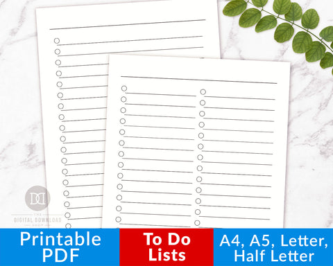 To Do List Printables: Large Layout- The Digital Download Shop