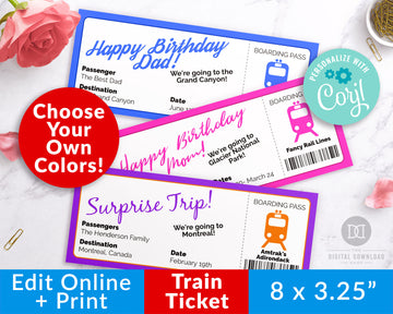 Train Ticket Template Printable *EDIT ONLINE*