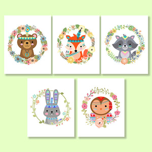 Tribal Woodland Animals Nursery Printables- The Digital Download Shop