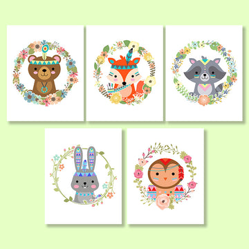 Tribal Woodland Animals Nursery Printables